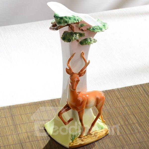 Gorgeous Ceramic Deer Pattern Flower Vase Painted Pottery