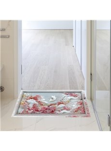 White and Pink Flower Slipping-Preventing Water-Proof Living Room 3D Floor Sticker