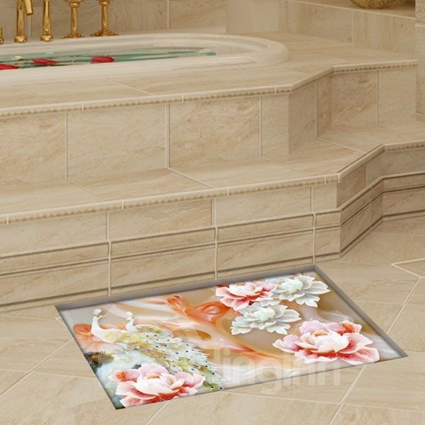 Wonderful White and Pink Flower Slipping-Preventing Water-Proof Bathroom 3D Floor Sticker