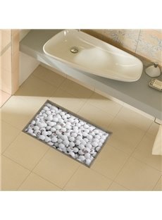 White Round Stone Slipping-Preventing Water-Proof Bathroom 3D Floor Sticker