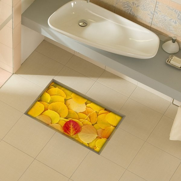 Beautiful Leaves Pattern Slipping-Preventing Water-Proof Bathroom 3D Floor Sticker