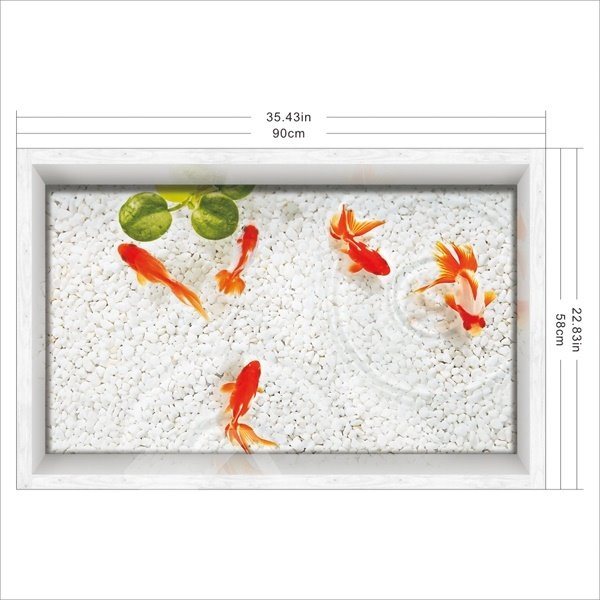 White Rectangle Goldfish and Lotus Pattern Slipping-Preventing Water-Proof 3D Floor Sticker