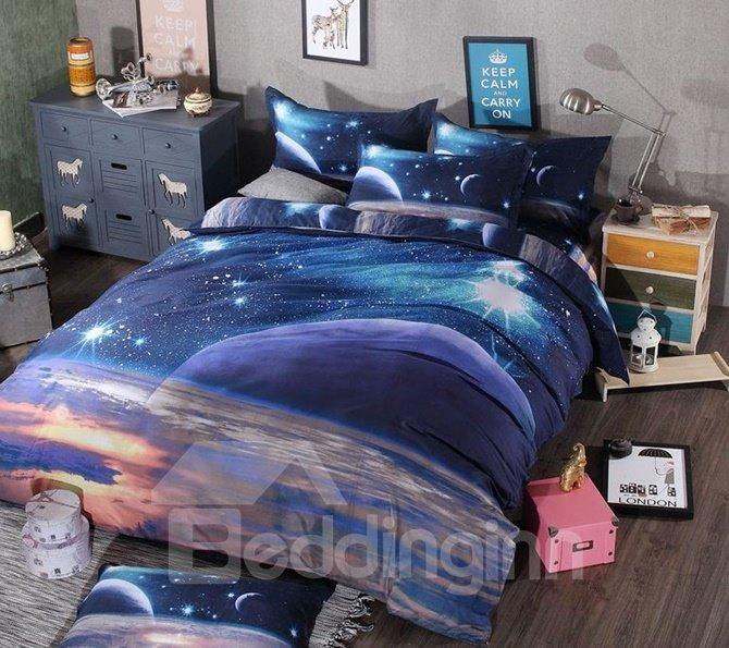 Magic Universe Print 4-Piece Polyester Duvet Cover Sets
