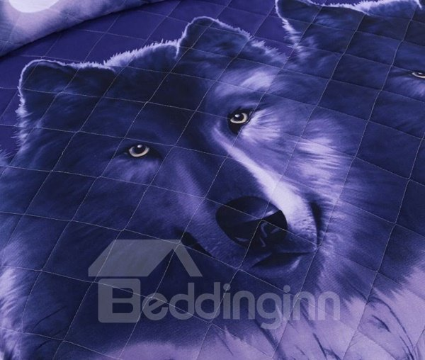 Noble Purple Wolf Print Polyester 3-Piece Bed in a Bag