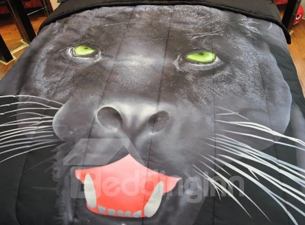 Fierce 3D Panther Printed Polyester 3-Piece Bed in a Bag