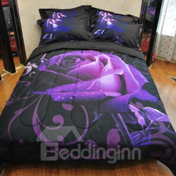 Unique Noble Purple Rose Print Bed in a Bag