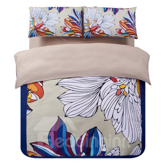 Chic Esthetical Flower Print 4-Piece Duvet Cover Sets