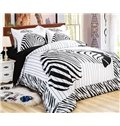 Special Zebra Print Black and White 4-Piece Cotton Duvet Cover Sets