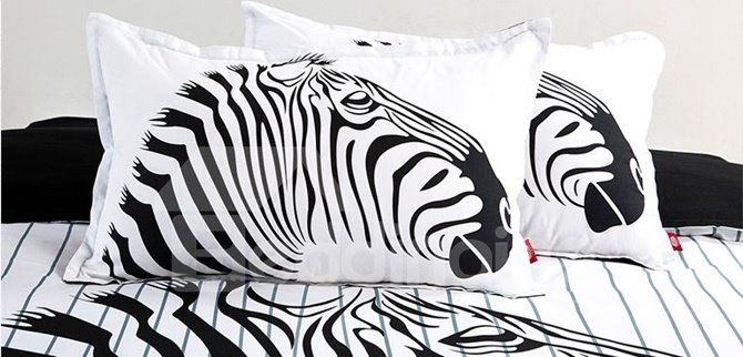 Special Zebra Print Black and White 4-Piece Cotton Duvet Cover Sets