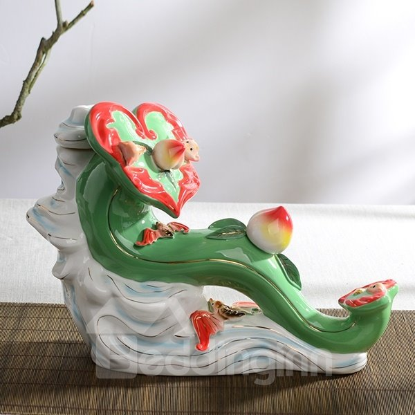 Fancy Ceramic Jade Desktop Decoration Painted Pottery