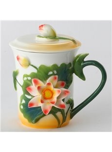 Natural Ceramic Lotus Pattern Cup Painted Pottery
