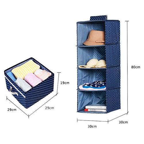 Foldable and Washable Hanging Storage Bag with 4 Drawers