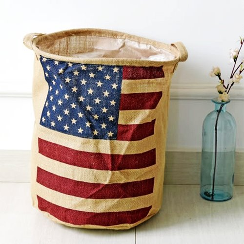64 American Flag Pattern Cotton Laundry Basket Storage Bag & American Flag Pattern Cotton Laundry Basket Storage Bag - beddinginn.com