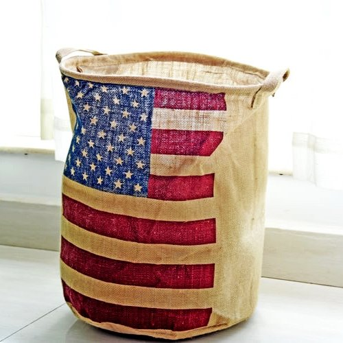 American Flag Pattern Cotton Laundry Basket Storage Bag