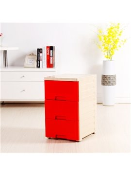 Red Plastic 3 Drawer Chest Side Table Storage Box