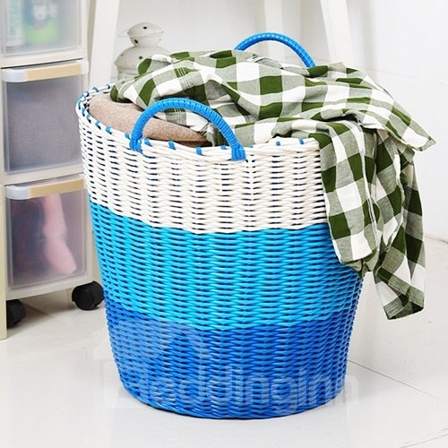 Woven Plastic Round Clothes Basket Toy Storage Box