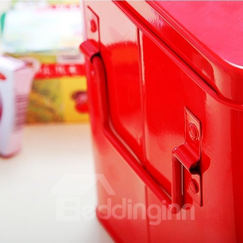 Metal Material Red Medicine Box Storage Organizer