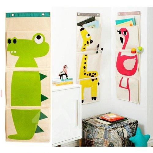 Cute Animal Print 4-piece Door Hanging Storage Bags