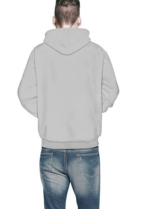 Long Sleeve Game Machine Pattern Grey Background 3D Painted Hoodie