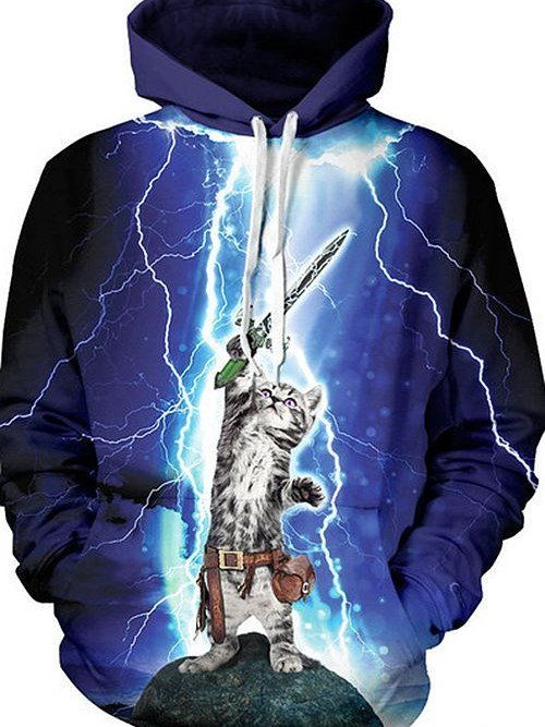 Super Long Sleeve Cat Wave Sword Pattern 3D Painted Hoodie