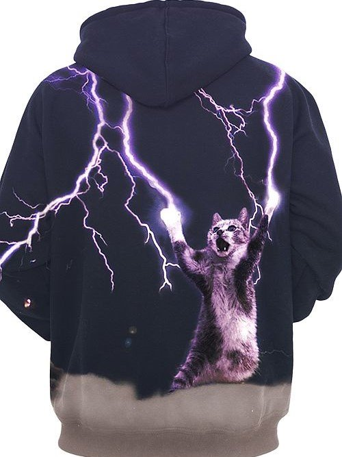 Long Sleeve Thunder Cat Make Lightning Cool Crazy Pattern 3D Painted Hoodie