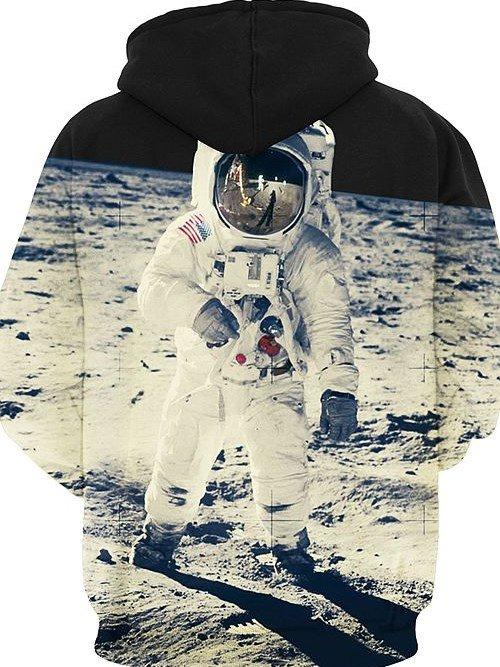 Unique Long Sleeve Spaceman in Moon Pattern 3D Painted Hoodie