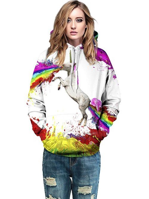Concise Long Sleeve Horse Pattern 3D Painted Hoodie
