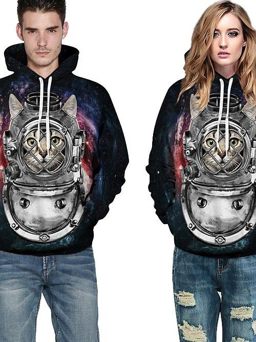 Machine | Costume | Sleeve | Paint | Hoody | Long | Cat | 3D