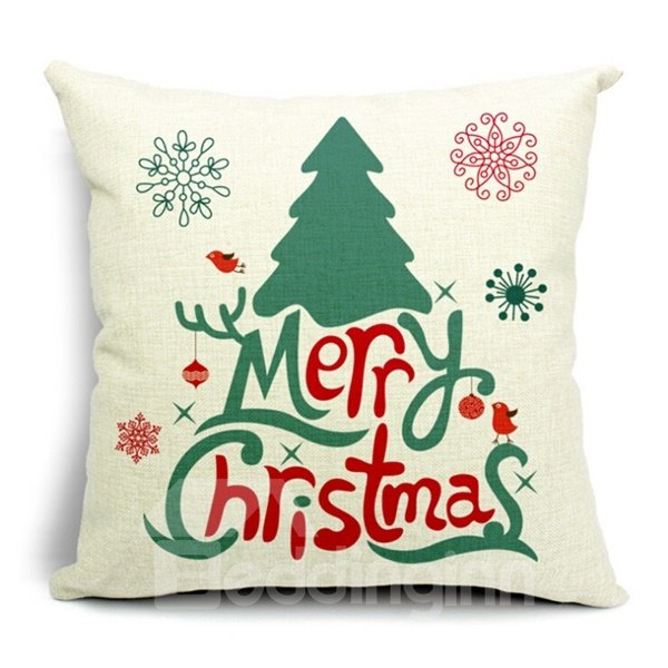 Festive Christmas Design Cotton Throw Pillow Case