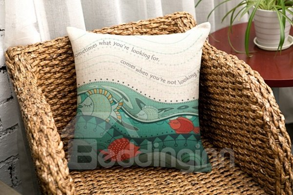 Amazing Marine Life Print Cotton Throw Pillow Case