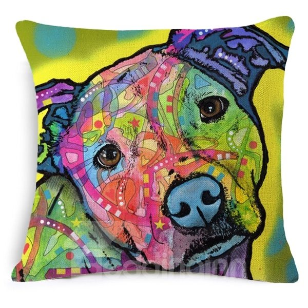 Special Colorful Dog Design Cotton Throw Pillow Case