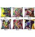 Unique Colorful Dog Print Cotton Throw Pillow Case