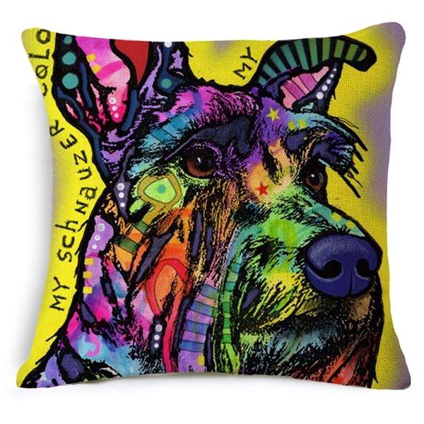 Contemporary Art Dog Print Cotton Throw Pillow Case
