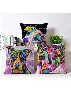 Popular Design Dog Print Cotton Throw Pillow Case