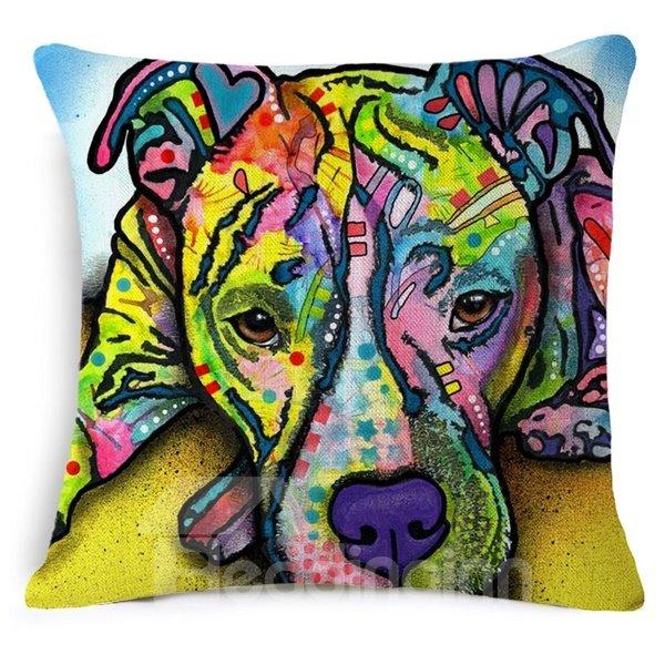 Creative Colorful Dog Print Cotton Throw Pillow Case