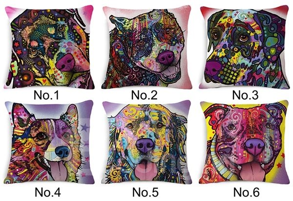 Colorful Pope Style Dog Print Cotton Throw Pillow Case