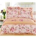 Elegant Flower with Lace Embellishment 4-Piece Cotton Duvet Cover Sets