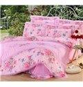 Sweet Pink Peony Print Lace Embellishment 4-Piece Cotton Duvet Cover Sets