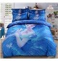 Beautiful Princess Print 4-Piece Cotton Duvet Cover Sets