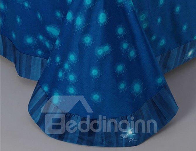 Dreamy Night Design Blue 4-Piece Cotton Duvet Cover Sets