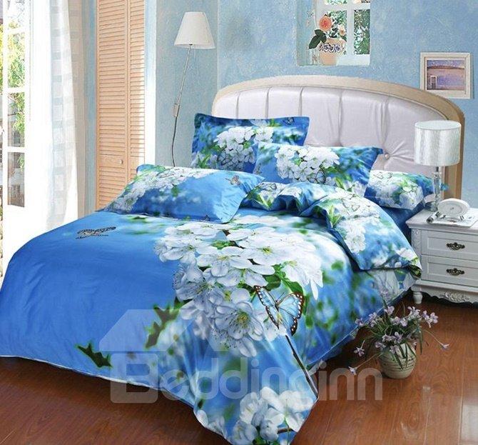 Fresh Pear Blossom Blue Sky Cotton 4-Piece Duvet Cover Sets