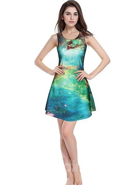 Bright A-line Round Neck DIY Galaxy Pattern 3D Painted Dress