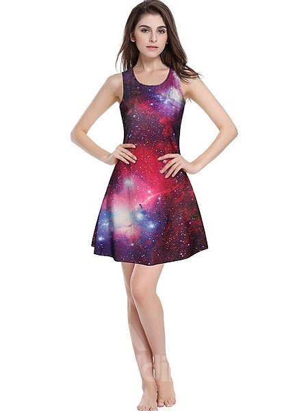 Modern A-line Round Neck Galaxy Pattern 3D Painted Dress