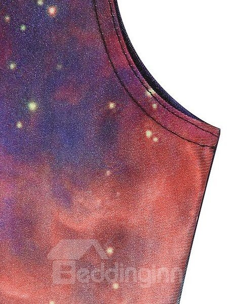 Amazing A-line Round Neck Multicolor Galaxy Pattern 3D Painted Dress