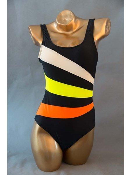 Blue Strip U-Neck Beach Swimwear with Falsies Free Wire Monokini