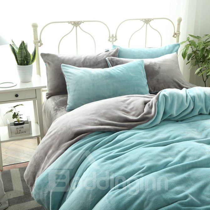 Ultra Soft Mint Green and Grey Flannel 4-Piece Duvet Cover Sets