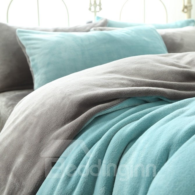 Ultra Soft Mint Green and Grey Flannel 4-Piece Bedding Sets/Duvet Cover