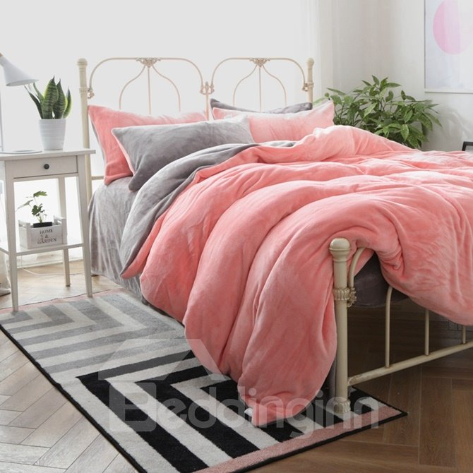 Solid Color Skin Care Flannel 4-Piece Duvet Cover Sets