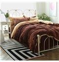 Neutral Color Soft Flannel 4-Piece Duvet Cover Sets