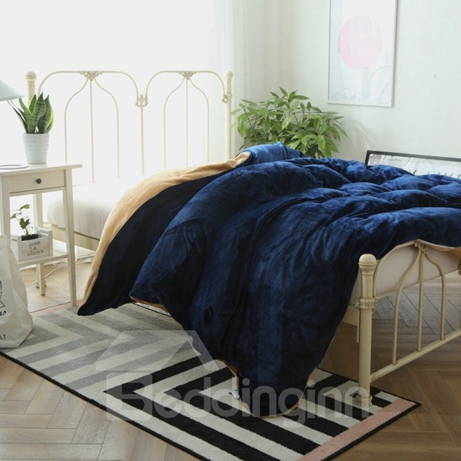 Dark Blue And Camel Flannel 4 Piece Duvet Cover Sets